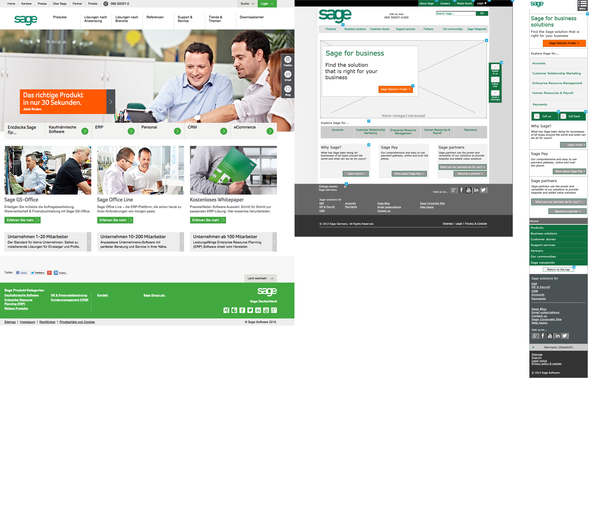 Sage Germany Homepage and Wireframe